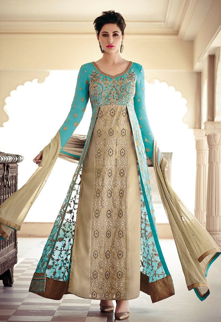HEAVENLY ETHNIC EYE CATCHING MINT AND GOLD COLOUR LONG JACKET STYLE DRESS RED ROSE 7325 - KHWAAB LONDON - 1334 - Khwaab London