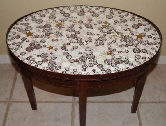 Mosaic Tile Mid Century Tile Top End Table By EllieandBellevintage, $185.00