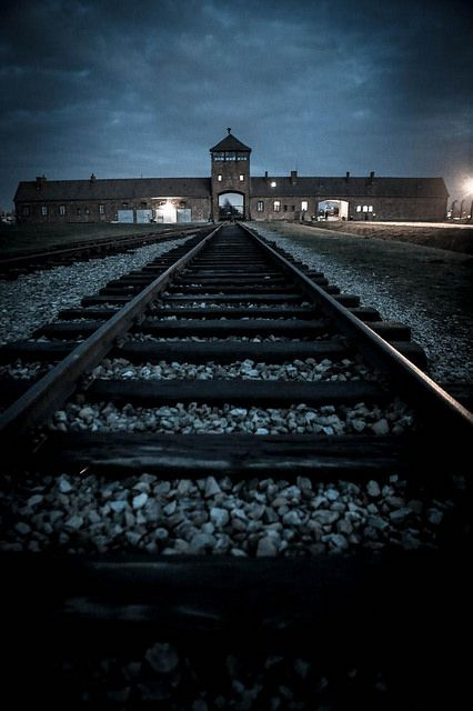 the main gate of the auschwitz birkenau camp, poland ...