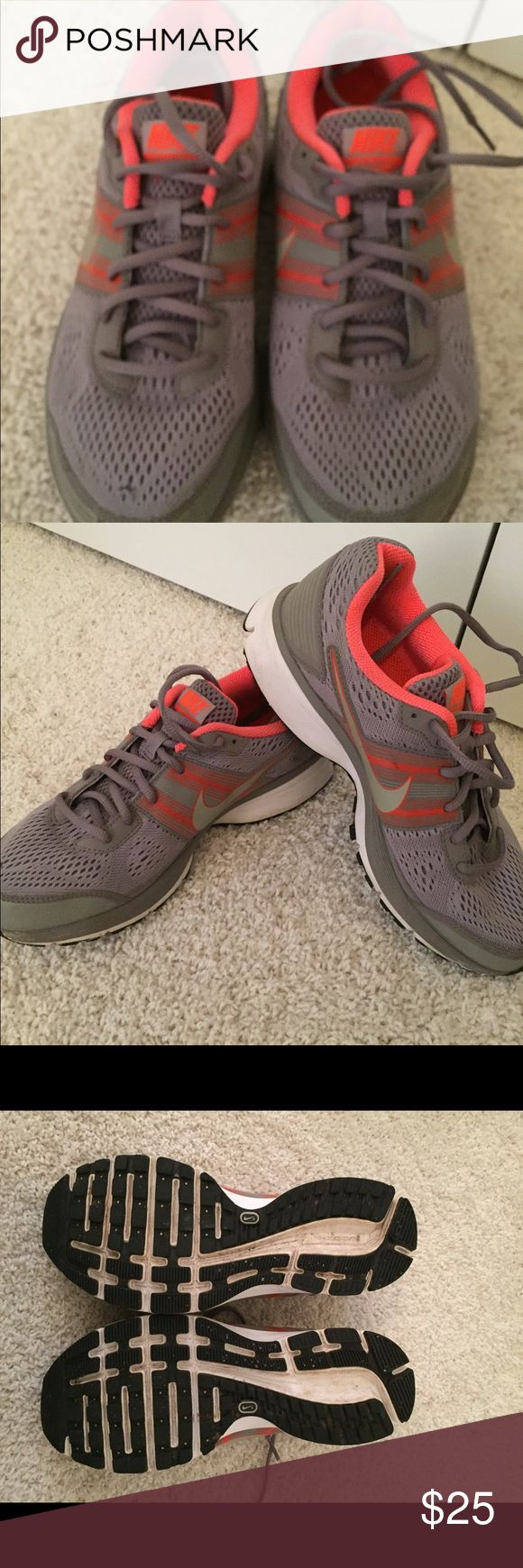 Nike Sneakers 👟 in Grey & Orange!!! Only worn a few times these Nike sneakers are looking for a new home!!  I'm an avid runner but due to an injury had to stop so these have only been worn maybe five times if that. They are a size US 8.5 - they are grey and orange and are beyond comfy to walk, run or both!!  Flexible on price and open to offers!! Nike Shoes Sneakers