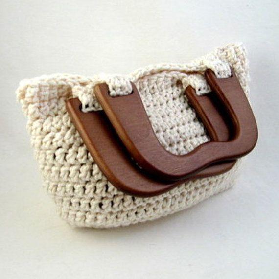 Crochet Bag Wooden Handle Pattern : Oversized Granny Square Tote Handmade Crochet Market Beach ...