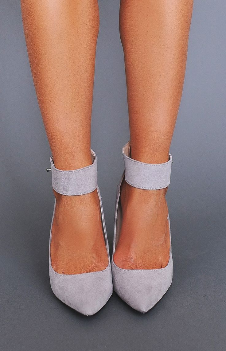 Grey Ankle Strap Pointed Heel - Dottie Couture Boutique
