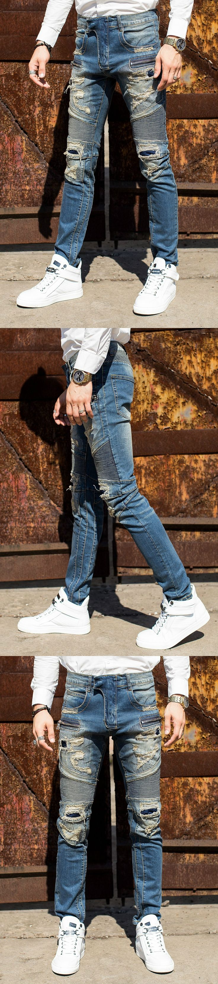 Free Shipping High Quality Men Jeans Casual Design Biker Jeans Men Slim Zipper Denim Man Jeans Hip Hop Skinny Jeans Men 29-42