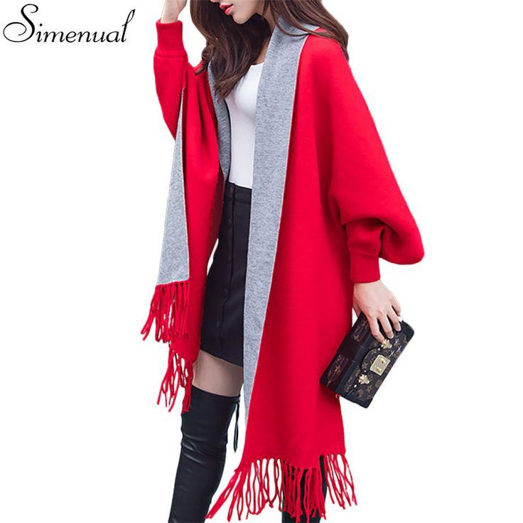 Новые 2016 рождественские свитера кардиганы пончо и накидки женщин бахромой форме крыла летучей мыши рукав плаща пальто зимняя мода кардиган улица