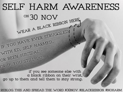 November 30th is Self Harm Awareness Day.