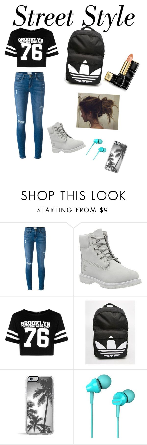 """""""Lace up"""" by dakotastrand ❤ liked on Polyvore featuring Frame Denim, Timberland, Boohoo, adidas, Zero Gravity and Guerlain"""