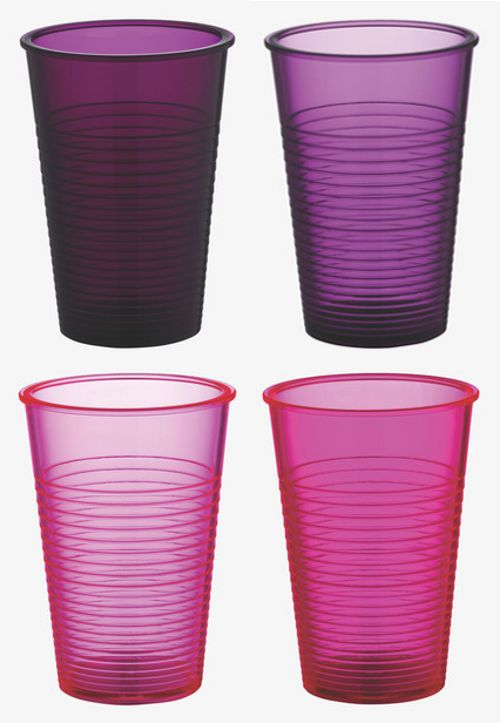 HABITAT, REUSABLE WATER TUMBLERS: polycarbonate, not the flimsy plastic types they're mimicking.