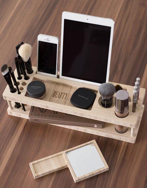 Beauty Station / Wood Makeup Organizer / makeup holder / iPad stand / desk organizer / lipstick holder / iphone: