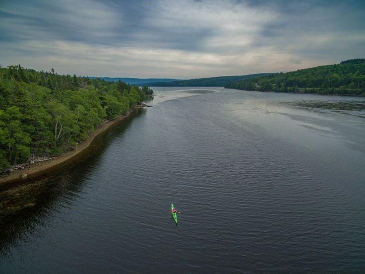 north river kayak drone shot