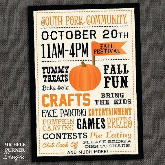 This flyer is perfect for a poster, flyer, invitation, handout, etc. for a community fall festival, school pumpkin patch, church fundraiser,