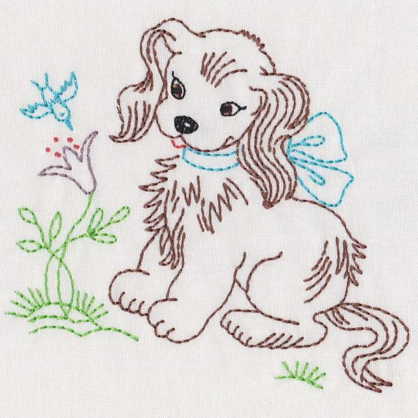 Vintage garden animals and friends colorwork embroidery