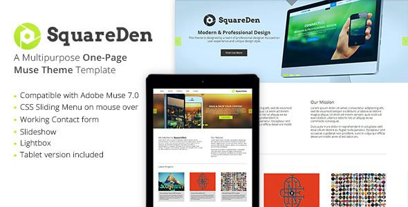 SquareDen - One Page Muse Theme (Creative)