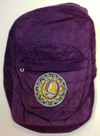 """Grateful Dead - Steal Your Face Corduroy Backpack - $39.99 This is a corduroy Grateful Dead backpack with an embroidered Grateful Dead Tribal Steal Your Face (SYF) design . Hand made of soft corduroy material and finely embroidered. 4 pockets that zipper shut including a secret pocket to stash your stuff!  Approximate size is 12"""" x 18"""". Officially licensed Grateful Dead merchandise. Available in brown or green."""