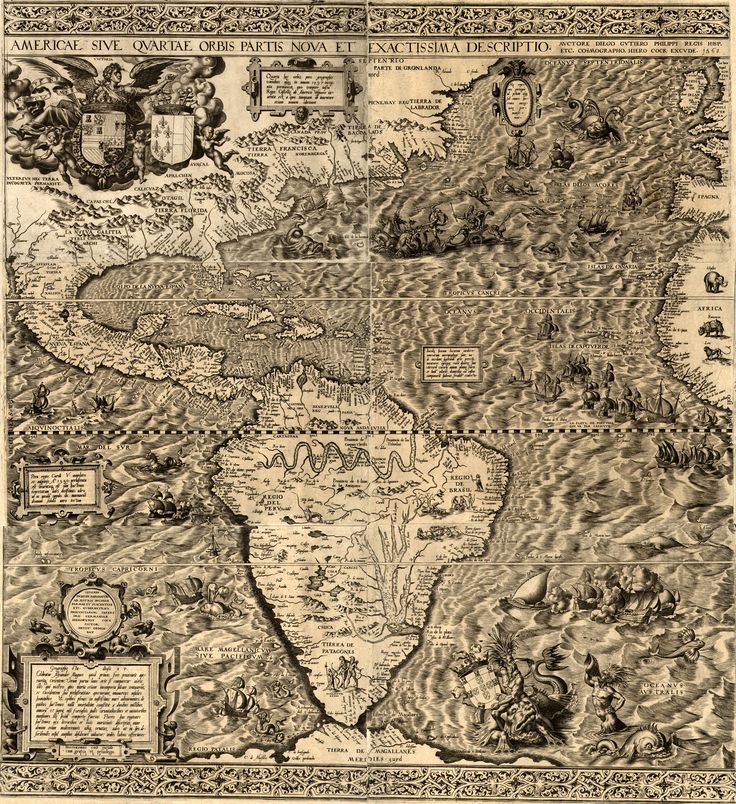 Political Map Of Central America And The Caribbean%0A Antique map of the Americas by Diego Gutierrez