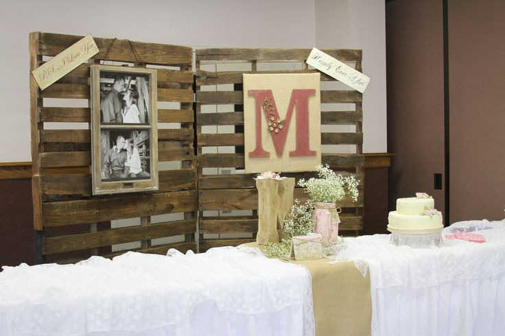 Rustic wedding backdrop old pallets burlap mason jars more pallets