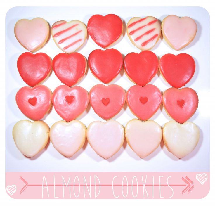 heart shaped Almond Cookies for Saint valentine's day