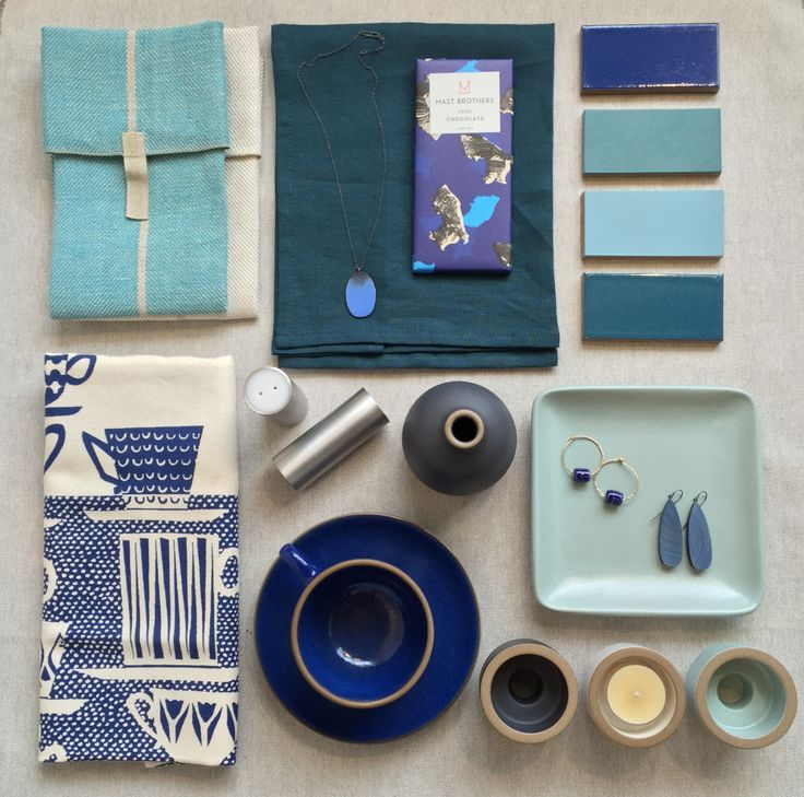 Around the StorePlaying around with some blues.Clockwise from top left: Växbo Lin tea towels / Libeco teal napkin / Julia Turner Hive necklace / Mast Brothers chocolate bar / Heath tile in G22 Opal Blue, M40 Turquoise, M67 Horizon Blue, G21 Opal Pacific / Heath Ceramics 6x6 Plaza tray in Aqua / Julie Cristello x Heath hoop earrings / Julia Turner drop earrings / Heath candle holders in Aqua, Opaque White, and Indigo / Heath Ceramics bud vase in Indigo / Heath Ceramics teacup and saucer in…