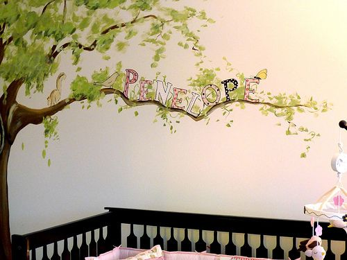 Penelope's Pink & Brown Nursery Mural | Using Client's Potte… | Flickr