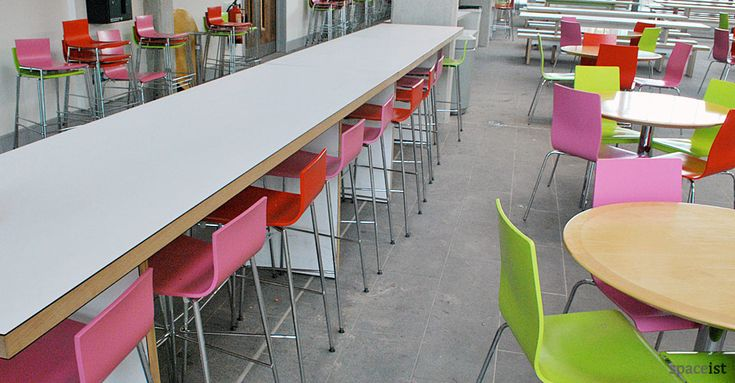 Stylish high white canteen tables