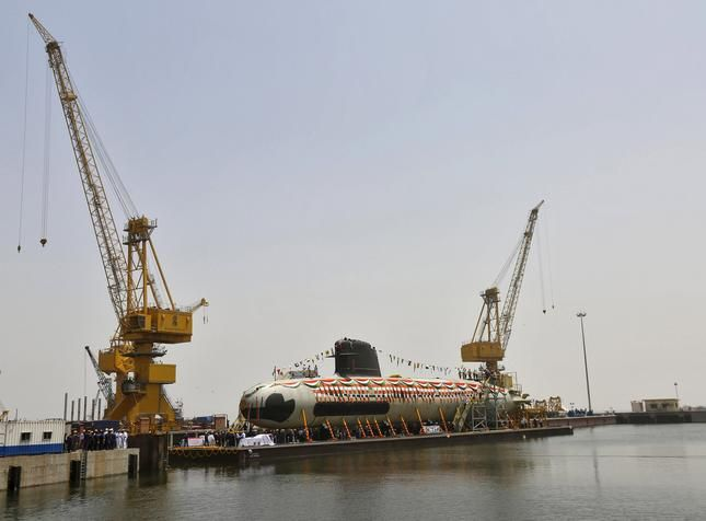 Scorpene submarine launched at Mazagaon Dockyard Ltd.