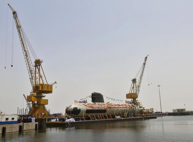 Scorpene submarine launched at Mazagaon Dockyard Ltd.