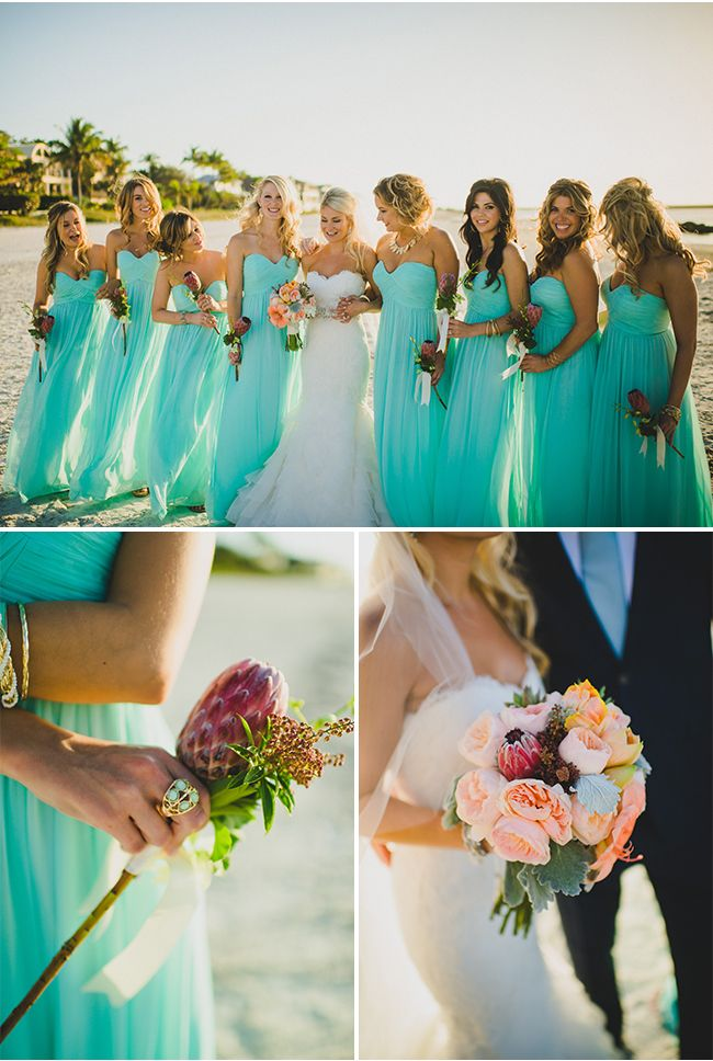 A Chic Ceremony at the Hideaway Beach Club in Marco Island Florida / The Perfect Match / Trenholm Photo / Mint Gold Ivory Details / via https://StyleUnveiled.com bridesmaid dress, cheap bridesmaid dresses