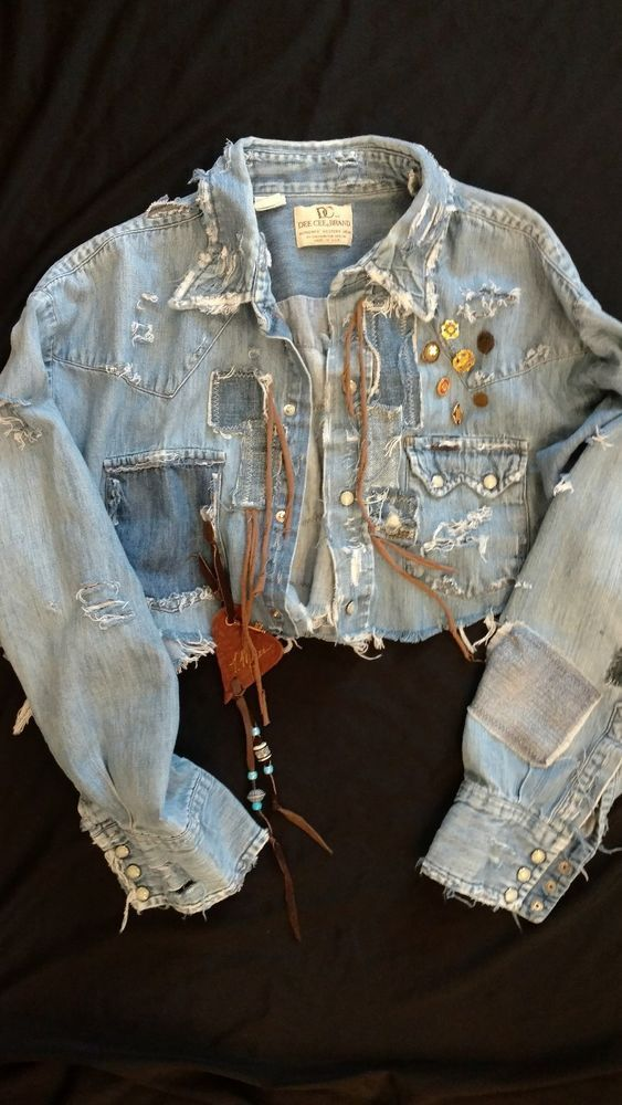 Up-cycled Distressed Denim Jean Shirt Women's Cropped Hippie Festival Top tmyers #UpcycledDeeCeeBrandMensShirt #JeanShirt #Casual