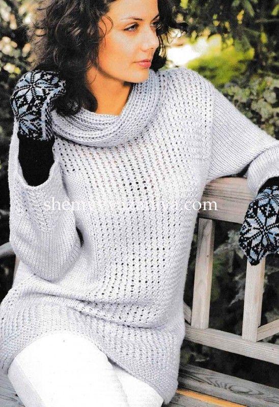 Пуловер с рельефным узором и воротником