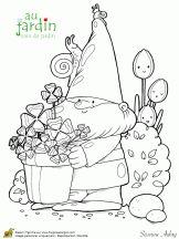 Coloriage jardinage sur jardin - Coloriage nain de jardin ...