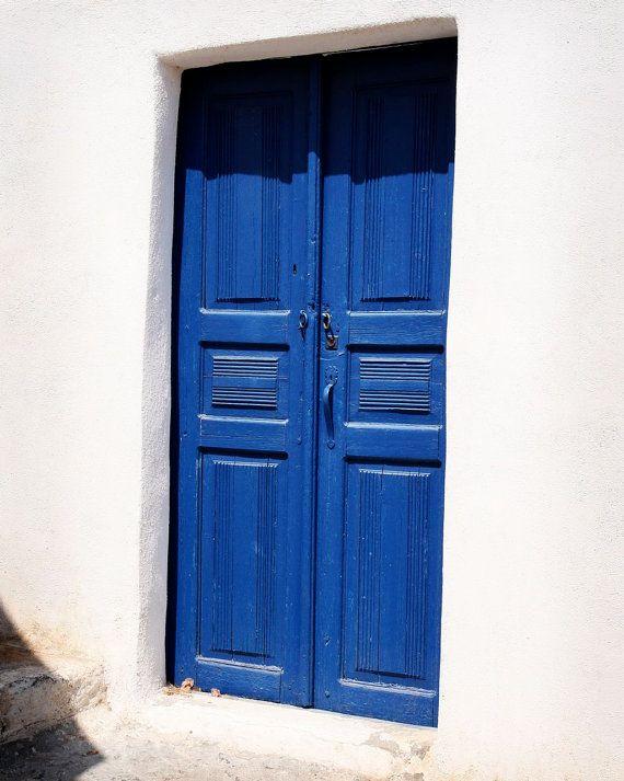 Blue Door Photography - Santorini Greece - Photos of Doors - Mediterranean Home Decor - Blue and White - Wall Art on Etsy, $30.00