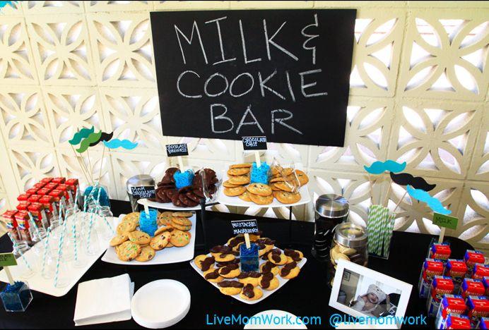 Little Man mustache and tie boy's first birthday party milk & cookies bar