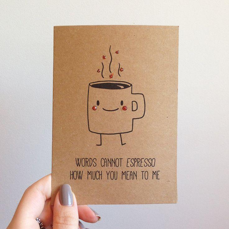 Espresso Coffee Pun Cute Love Valentines Card by SubstellarStudio, $4.50