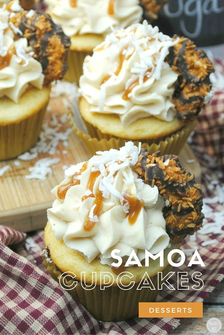These light and moist Girl Scout inspired Samoa Cupcakes are made with rich vanilla, buttermilk and sweet cream butter topped off with a mouth-watering Coconut Caramel Frosting, and then crowned with a Samoa cookie.