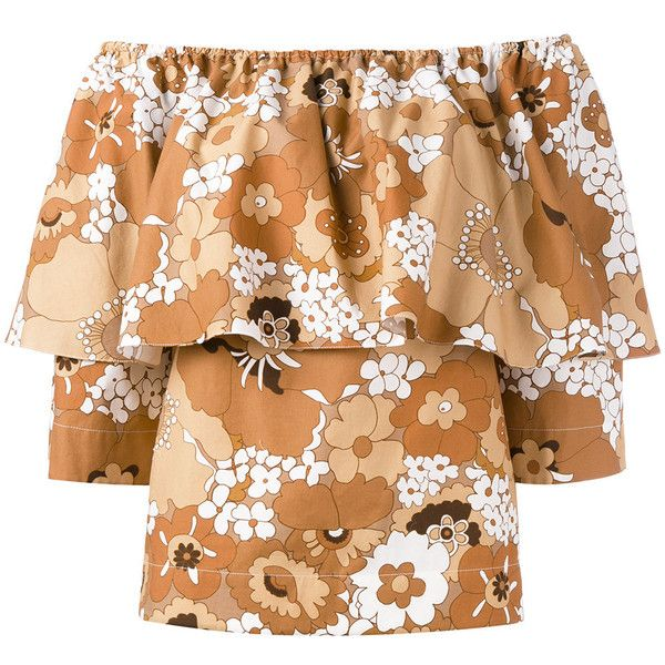Chloé floral bardot top ($1,415) ❤ liked on Polyvore featuring tops, brown, floral off shoulder top, off shoulder tops, beige top, floral tops and colorful tops