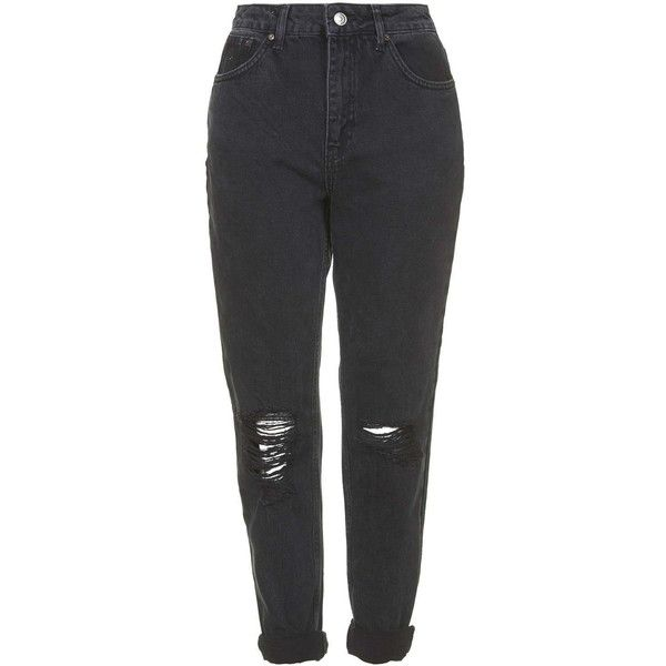TOPSHOP MOTO Washed Black Ripped Mom Jeans ($61) ❤ liked on Polyvore featuring jeans, pants, bottoms, trousers, washed black, high-waisted skinny jeans, destroyed skinny jeans, distressed jeans, high waisted skinny jeans and ripped jeans