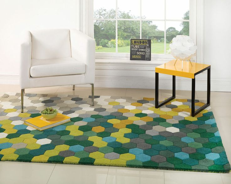 MODERN BRIGHT FUNKY WOOL THICK PILE RUG, -OTHER COLOURS & SIZES AVAILABLE-