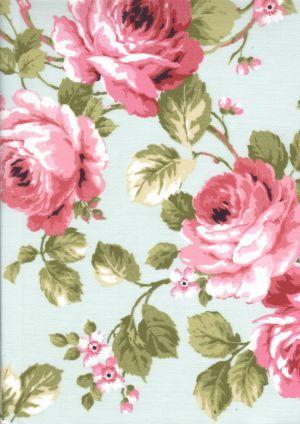 Provence fabric: Roses rose-bleu coordonne
