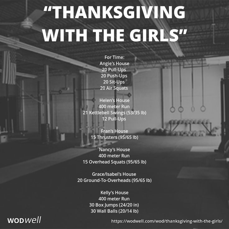 """Thanksgiving With The Girls"" WOD - For Time: Angie's House; 20 Pull-Ups; 20 Push-Ups; 20 Sit-Ups; 20 Air Squats; Helen's House; 400 meter Run; 21 Kettlebell Swings (53/35 lb); 12 Pull-Ups; Fran's House; 15 Thrusters (95/65 lb); Nancy's House; 400 meter R https://www.kettlebellmaniac.com/kettlebell-exercises/"