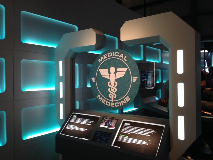 The section for medical testing for the exhibit Star Trek: The Starfleet Academy Experience, summer 2016 at the Aviation Museum.  An ill Klingon awaits your diagnosis!