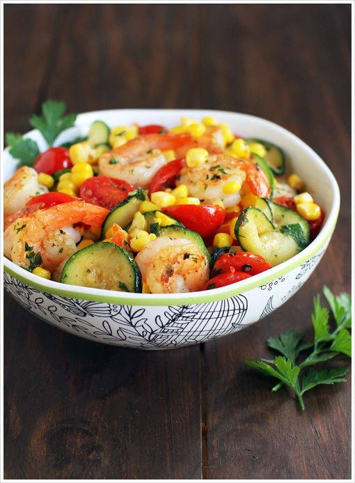 Summer Stir-Fry with Shrimp, Zucchini, Tomatoes, and Roasted Corn from ...