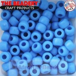 The Beadery HaarKralen 9x6mm True Blue Mat