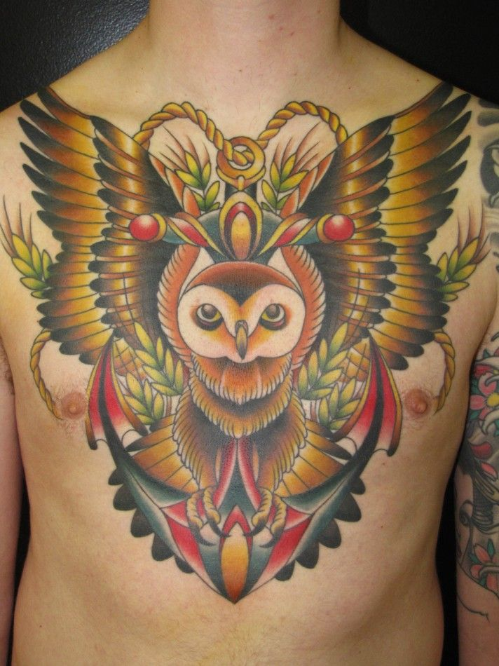 horned owl tattoo3 classic chest piece