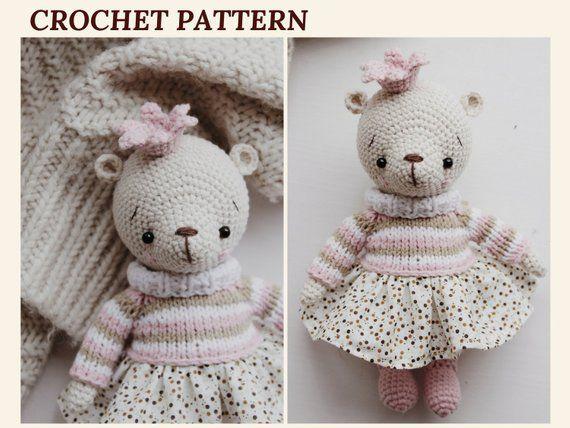 Bear Pattern Crochet Amigurumi Bear Princess Crochet Toy Teddy Bear Pattern PDF