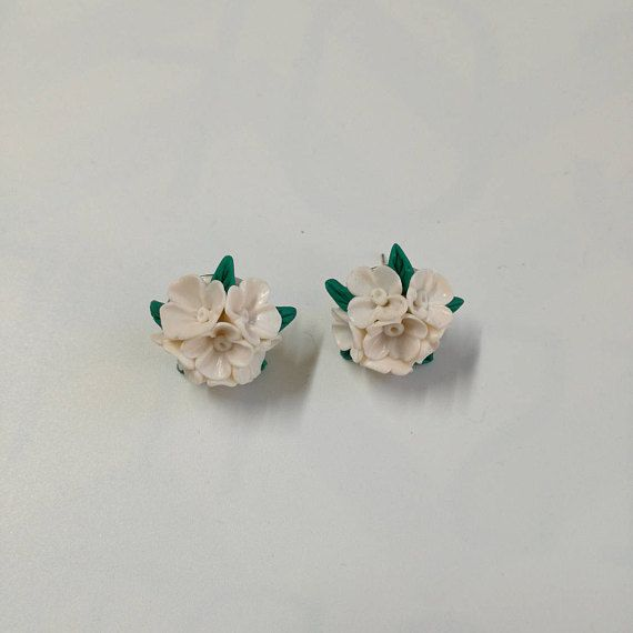 White lilac earrings