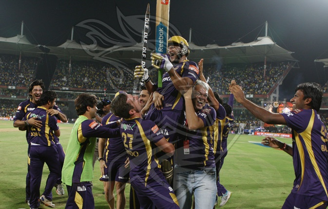 Shakib Al Hasan is hoisted in the air bu his team mates after the winning runs had been scored in the final.