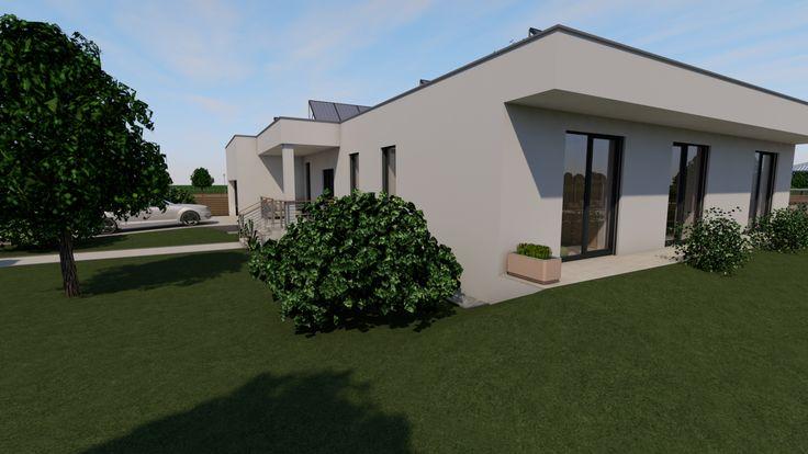 Modern, 5 szobás, 229 m2-es földszintes családi ház mintaterve, alaprajzzal Az egész déli homlokzat passzív árnyékolást kapott.