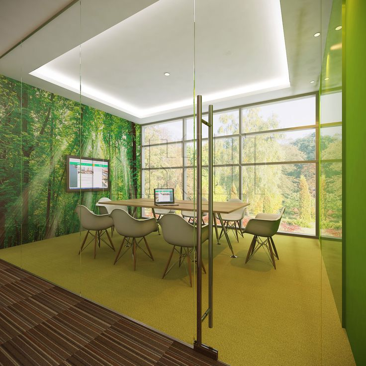 Forest Meeting Room Suitable For 8 People With Green Colored Carpet To Paint Schemes