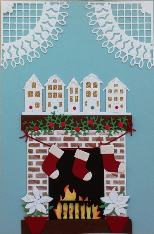 Image result for card using Poppy stamp classic fireplace die