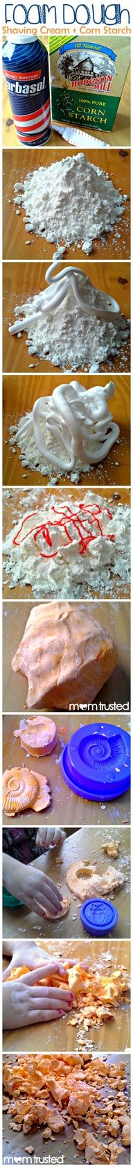 DIY Foam Dough!  Could make the first day and then have it out each morning to work with prior to start of camp.