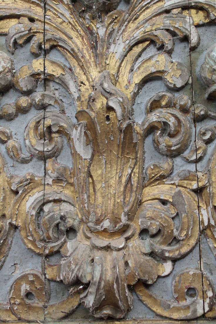 """Antique Wood Carving"" - Gold Distressed Paint Interior Inspiration"